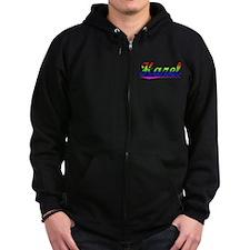 Hazel, Rainbow, Zipped Hoodie
