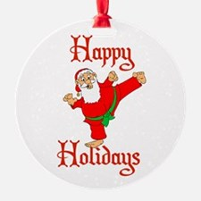 Karate Kicking Santa Ornament