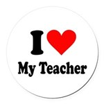 I heart my teacher Round Car Magnet