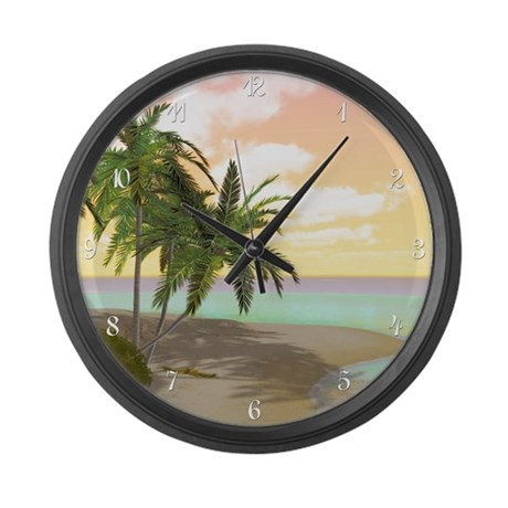 Dreamy Desert Island Large Wall Clock