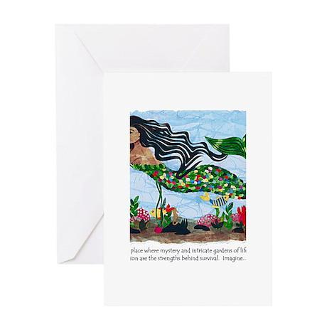 Mermaid_scan Greeting Cards