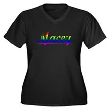 Macey, Rainbow, Women's Plus Size V-Neck Dark T-Sh