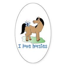 Cute horse lover boys Oval Decal