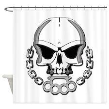Brass knuckles skull Shower Curtain