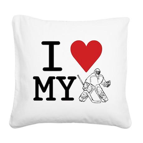 I Love My Goalie (hockey) Square Canvas Pillow