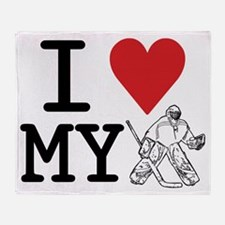 I Love My Goalie (hockey) Throw Blanket
