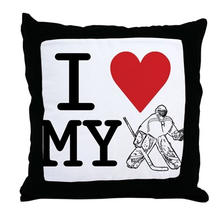 I Love My Goalie (hockey) Throw Pillow