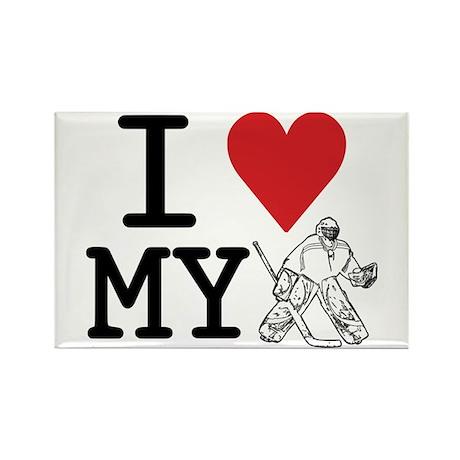 I Love My Goalie (hockey) Rectangle Magnet