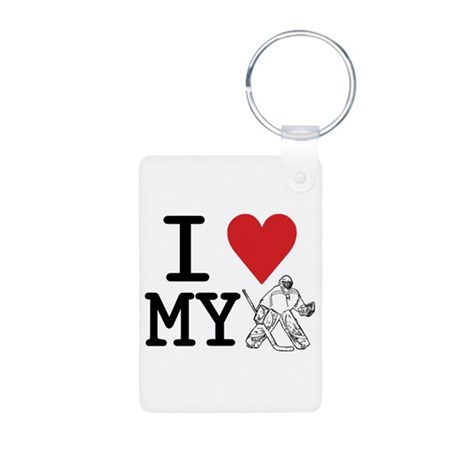 I Love My Goalie (hockey) Aluminum Photo Keychain