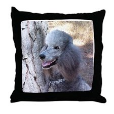 Smiling SIlver Poodle Throw Pillow