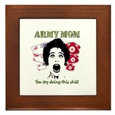 Psycho and Crazy Army Mom Framed Tile
