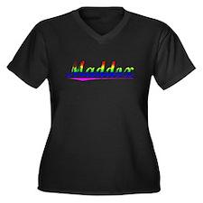 Maddox, Rainbow, Women's Plus Size V-Neck Dark T-S