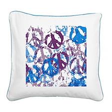 Cool Tone Peace Montage Square Canvas Pillow
