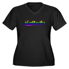 Mattocks, Rainbow, Women's Plus Size V-Neck Dark T