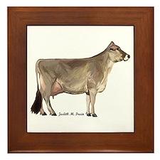Brown Swiss Cow Framed Tile