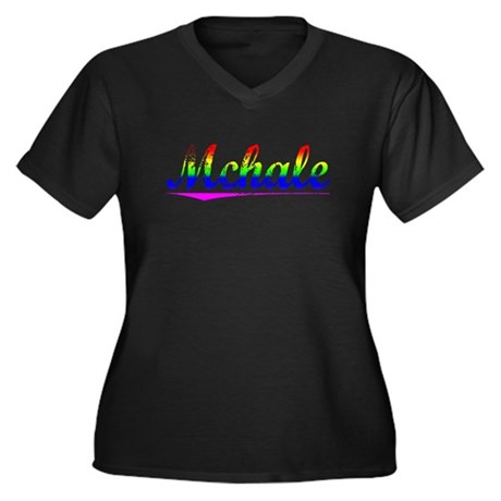 Mchale, Rainbow, Women's Plus Size V-Neck Dark T-S