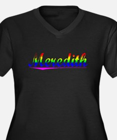 Meredith, Rainbow, Women's Plus Size V-Neck Dark T