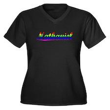 Nathaniel, Rainbow, Women's Plus Size V-Neck Dark