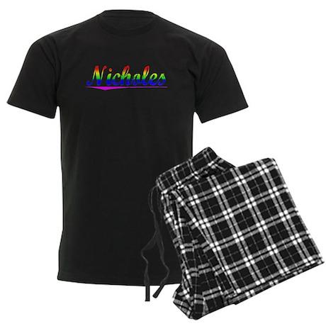 Nicholes, Rainbow, Men's Dark Pajamas