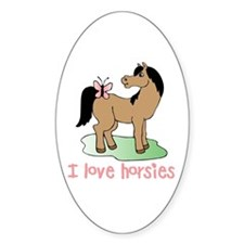Cute horse lover girls Oval Decal