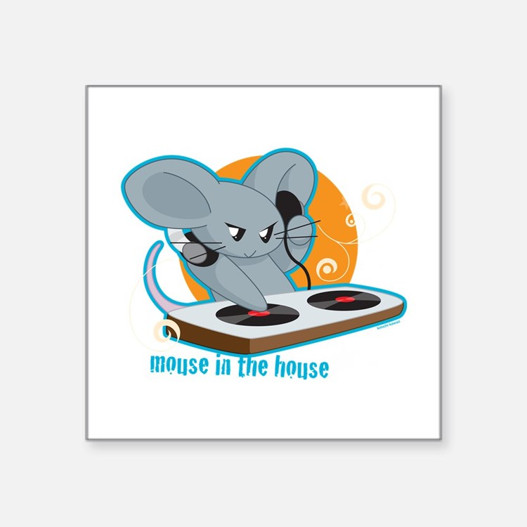 """Mouse in the House Square Sticker 3"""" x 3"""""""