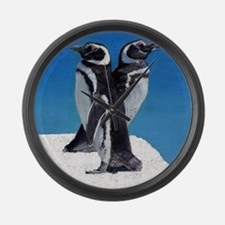 Penguins in the Snow Large Wall Clock