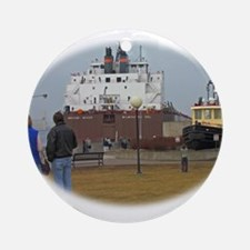 Mesabi Miner arriving Duluth Ornament (Round)