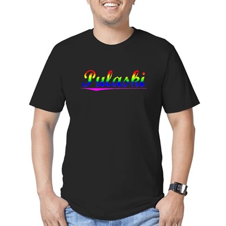 Pulaski, Rainbow, Men's Fitted T-Shirt (dark)