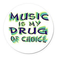 Music Is My Drug (grn) Round Car Magnet