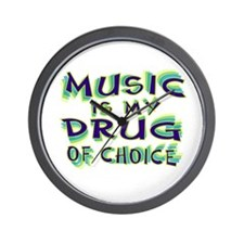 Music Is My Drug (grn) Wall Clock