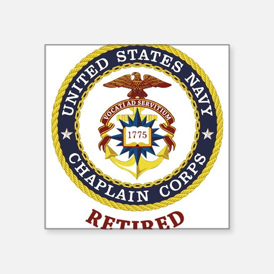 "Retired US Navy Chaplain Square Sticker 3"" x 3"""