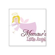 "Memaws Little Angel Square Sticker 3"" x 3"""