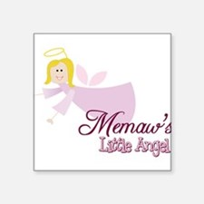 "Memaws Little Angel Square Sticker 3"" x 3"""