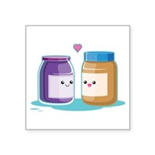 "Peanut Butter and Jelly Square Sticker 3"" x 3"""