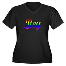 Pelfrey, Rainbow, Women's Plus Size V-Neck Dark T-