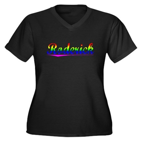 Roderick, Rainbow, Women's Plus Size V-Neck Dark T