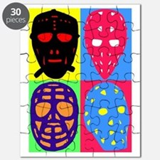 Vintage Hockey Goalie Masks Puzzle