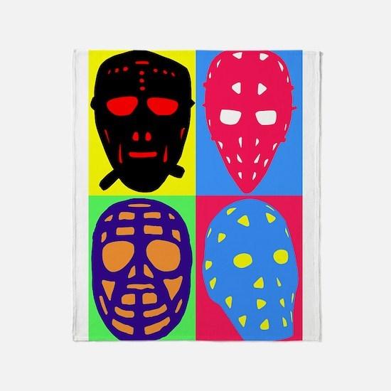Vintage Hockey Goalie Masks Throw Blanket