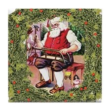 Santa in his Workshop Tile Coaster