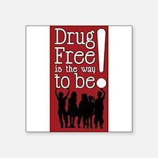 "Red Ribbon Drug Free Square Sticker 3"" x 3"""