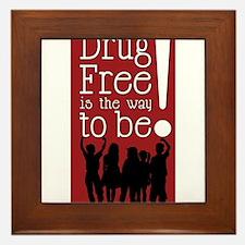 Red Ribbon Drug Free Framed Tile