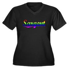 Sargent, Rainbow, Women's Plus Size V-Neck Dark T-