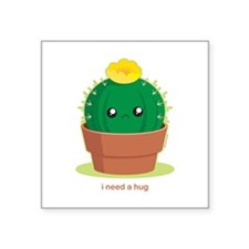 "Lonely Cactus Square Sticker 3"" x 3"""