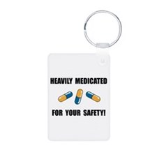 Heavily Medicated Aluminum Photo Keychain