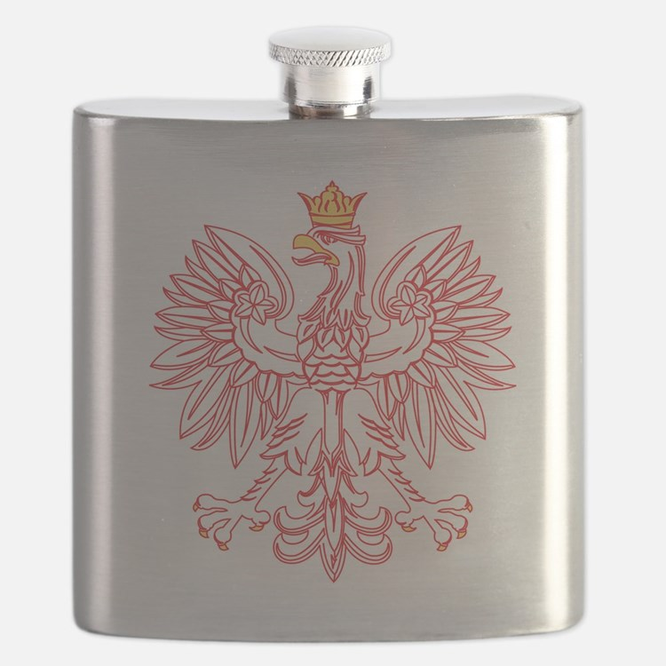Polish Eagle Outlined In Red Flask