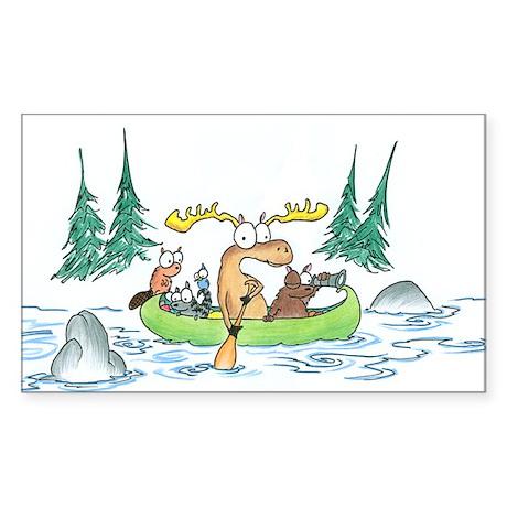 Animals in a Canoe Oval Sticker