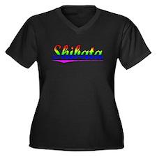Shibata, Rainbow, Women's Plus Size V-Neck Dark T-
