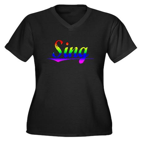 Sing, Rainbow, Women's Plus Size V-Neck Dark T-Shi