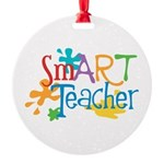 SmART Art Teacher Round Ornament