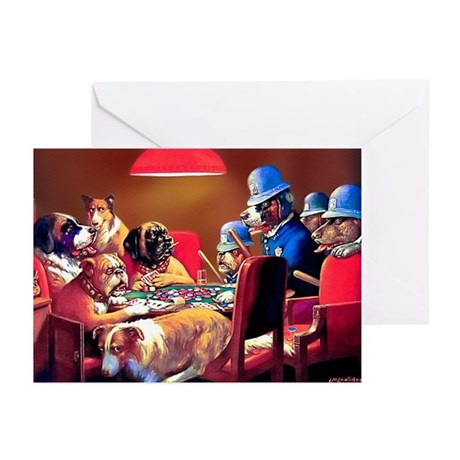 POKER DOGS Greeting Cards (Pk of 10)